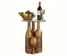 Wine and Dine Sculptural Glass-Topped Table, Design Toscano Wine Bottle Art, Diy Bottle, Bottle Labels, Glass Bottle Crafts, Glass Bottles, Decorative Wine Bottles, Mothers Day Crafts For Kids, Wine Decor, Altered Bottles