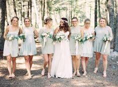 mint colored bridesmaids dresses, all mismatched!