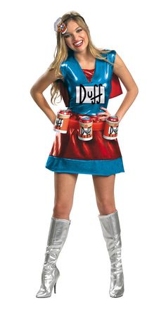 simpsons duffwoman dlx simpsons costumessimpsons halloweenduffman - Sundrop Halloween Costume