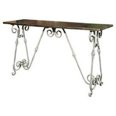 """Scrolled iron console table with an elm wood top.   Product: Console tableConstruction Material: Elm wood and ironColor: White and brownDimensions: 33.5"""" H x 59"""" W x 17.75"""" D"""