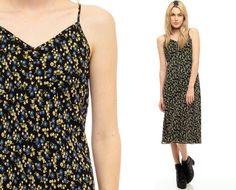 ce489ecab6 Grunge Midi Dress 90s Sundress Floral LOW CUT Back by ShopExile Floral  Sundress