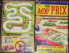 Juego de carreras MINI PRIX Cefa Ref. 581. Se vende lo que hay en la foto. Tablero de juego, bolsita con cuatro coches y una valla. 49,50 €