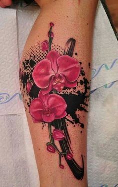 You decided to get an orchid tattoo? The orchid tattoos are v Cover Up Tattoos, Leg Tattoos, Body Art Tattoos, Tattoo Thigh, Tatoos, Orchid Flower Tattoos, Flower Tattoo Designs, Orchid Flowers, Orchid Color