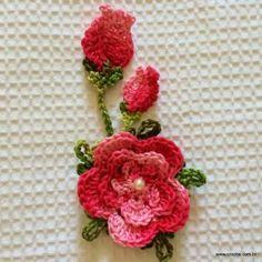 How to Knit Flower Bud? Crochet Cactus, Freeform Crochet, Knit Or Crochet, Crochet Motif, Irish Crochet, Crochet Stitches, Knitted Flowers, Crochet Flower Patterns, Flower Applique