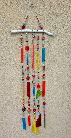 Suncatcher, Windchime, Stained Glass Wind Chime, Glass Sun Catcher, Stained Glass Mobile, 7787