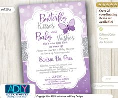 Butterfly Kisses and Baby WIshes Invitation for Baby Shower with bokeh purple silver glitter, butterfly invitation, grey,lavender- ao126bs
