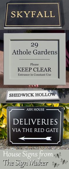 At The Sign Maker there is a huge range of house signs in all kinds of materials to suit all budgets. Wooden, Painted Wood, Granite, Slate, Brass, Bronze, Limestone, Aluminium, Polyeuranthane, Acrylic and many more. House Signs, Gate House, Sign Maker, Painted Wood, Painting On Wood, Clear Acrylic, Slate, Granite, It Cast