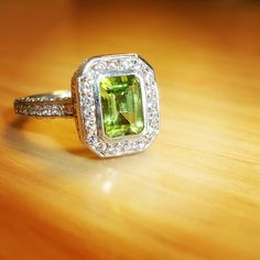 Perfect peridot proposal: The Savannah Ring, customized here in peridot, diamond, and white gold.