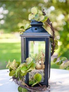 Lantern Centerpieces with Bird Feature