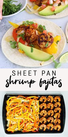 healthy weeknight meals These sheet pan shrimp fajitas make for an easy weeknight meal with Mexican flavor. Simply bake your shrimp, peppers and onions together on one sheet, load up your tortillas and enjoy! Healthy Summer Recipes, Lunch Recipes, Mexican Food Recipes, Cooking Recipes, Easter Recipes, Healthy Meal Options, Vegetarian Recipes For Kids, Healthy Shrimp Recipes, Gluten Free Lunch Ideas