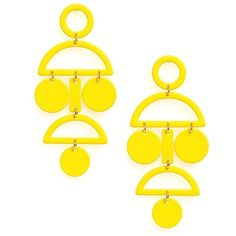 Women's Natasha Geo Statement Earrings ($28) ❤ liked on Polyvore featuring jewelry, earrings, yellow, chandelier earrings, yellow earrings, earring jewelry, yellow jewelry and cut out earrings