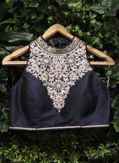Midnight blue embroidered blouse