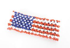 American Flag Stretch Weave Bracelet Cuff  by ThePookiesJewelryBox, $15.00