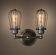 Marconi Small Cage Double Sconce Aged Steel