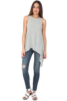 Gray muscle tee featuring A-line. This top is a great staple to your wardrobe! Easy to wear and accessorize!