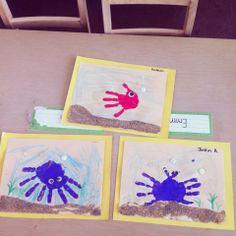 Hand print ocean animals