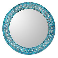 Found it at Wayfair - Round Flower Motif Glass Mosaic Tile Wall Mirror