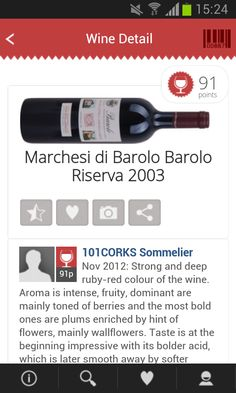 wine detail, new design with social network features (share, like)