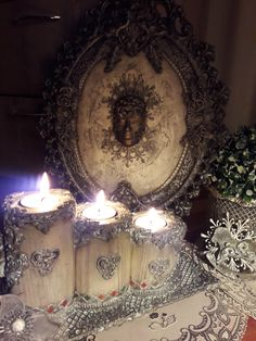 Decoupage Box, Tea Lights, Candles, Rustic, Home Decor, Ideas, Moldings, Country Primitive, Decoration Home