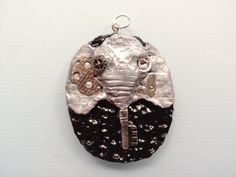 Steampunk Key Elephant Pendant with Silver Chain by ConstantMindJewelry, $13.99