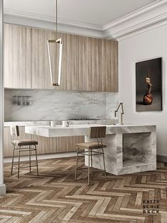 Stunning herringbone wood floors in a chic Barcelona, Spain apartment designed by Katty Schiebeck. Home tour with a modern marble kitchen island and more. Home Interior, Interior Design Kitchen, Kitchen Decor, Kitchen Ideas, Luxury Interior, Modern Interior, Apartment Interior, Scandinavian Interior, Kitchen Furniture