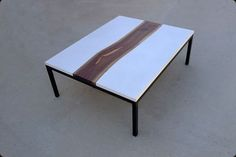 Custom Made Concrete, Steel, And Live Edge Walnut Table so cool!  $1,500 ships in 6 week from Boulder