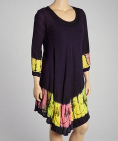 Purple Tie-Dye Embroidered Long-Sleeve Dress by India Boutique on #zulily