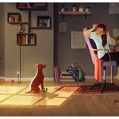 Illustrations Shows, Dog Owners Never Feel Alone By Yaoyao Ma Van As Art And Illustration, Gravure Illustration, Me And My Dog, Girl And Dog, Cartoon Kunst, Cartoon Art, Character Art, Character Design, Satirical Illustrations