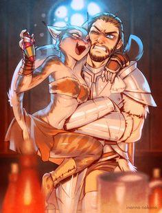Skyrim: Farkas and Khajiit by inanna-nakano on DeviantArt