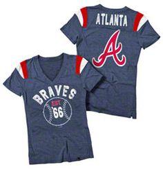Atlanta Braves Navy Women's Tri-Blend V-Neck Raglan T-Shirt
