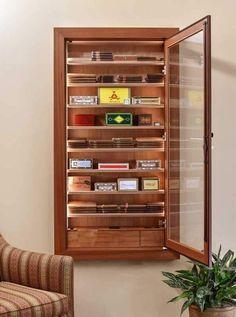 Reliance 550 Wall Cigar Humidor - By Vigilant - Wine Cellar Creations Cigar Lounge Decor, Cigar Lounge Man Cave, Cigar Humidor Cabinet, Cigar Accessories, Cigar Room, Man Cave Home Bar, In Vino Veritas, Bars For Home, Adjustable Shelving
