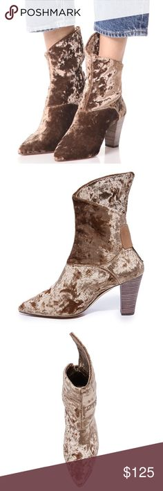 """free people moonlight crushed velvet booties Free People  Moonlight velvet boots in brown. Crushed velvet adds decadent texture to a Spanish pointy toe bootie made with an asymmetrical wraparound shaft and lifted by a stacked, tapered block heel.   size: 38 (US size 7.5) runs a tad small approx 6"""" shaft height approx 3"""" heel height  condition: new with box Free People Shoes Ankle Boots & Booties"""