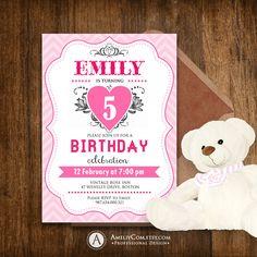 Printable Birthday Invitation - Girl Pink Chevron & Heart Birthday Party Invite - DIY Instant DOWNLOAD Editable Template for self printing
