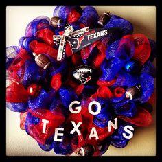 Show your team spirit on your front door Houston Texans football deco mesh wreath
