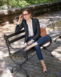 J.Crew women's Campbell blazer in pinstripe, silk pocket blouse, Billie demi-boot crop jean in Koby wash, leopard-printed calf hair belt and Avery heels in tweed.
