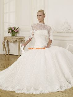 Princess-Stil 3/4 Arm Tiefe Taille Brautkleider 2014