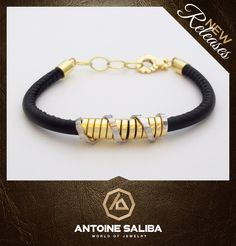 #Fashion #Elegant #Classy 18Kt #Gold #Bracelet with #Leather #AntoineSaliba World of #Jewelry #Byblos #Lebanon