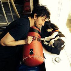 """Pin for Later: This Is How the Hottest Actors From The CW Stay in Shape (No Complaints Here) Torrance Coombs Canadian cutie Torrance Coombs, who plays Sebastian on The CW's Reign, posted this sweet photo of his """"workout partner."""""""
