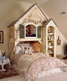 DOLLHOUSE BUNK BEDS....this is the cutest bed design for girls  via Tanglewood Design