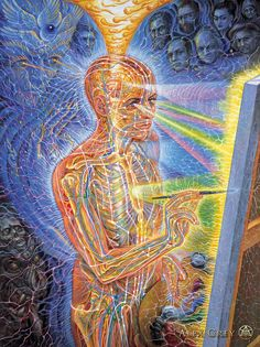 """""""Painting"""" 1998 - Alex Grey - oil on linen - 30 x 40 in. - If one focuses on any part of any of Grey's paintings, there is a LOT going on within the composition, however when one steps back it becomes something entirely different."""