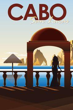 Vintage Cabo Travel Poster on Behance