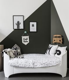 black and white monochrome kids room