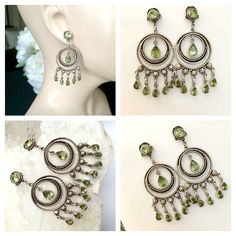 Vintage Peridot Chandelier Earrings Sterling by Topcatvintage