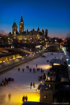 Rideau Canal Skateway - The Rideau Canal Skateway is a 7.8 km section of the Rideau Canal that becomes the world's longest naturally frozen skating rink from roughly January to early March.