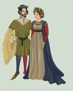 Italy 1420 The woman is wearing a burgundian gown with tight sleeves and a balzo,  The man is wearing a velvet tunic with huge, flared and dagged sleeves and colorful hose..:2:. by Tadarida.deviantart.com on @DeviantArt