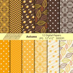 Autumn Digital Paper Fall Digital Paper digital by AGraphicStyle
