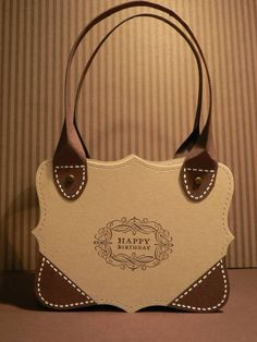 Made With Top Note Die( No Instructions) Use As Inspiration For Die Cut Handbag Card. Paper Purse, Paper Bags, Designer Totes, Designer Bags, Vintage Labels, Gift Bags, Tote Bags, Homemade Cards, Stampin Up Cards