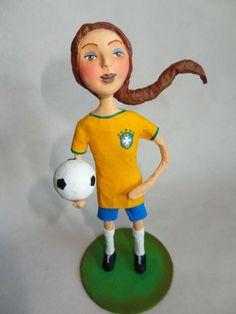 Copa do Mundo 2014 - World Cup 2014 - Brazil - Paper mache doll - Boneca em papel mache