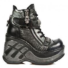 Chaussures Neo Cuña Sport en Cuir et Serpent Noires M.SP0002-C1