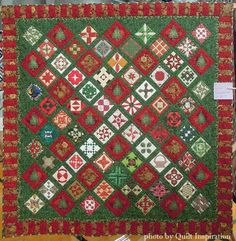 """Jane's Christmas"" by Linda Reid.  Dear Jane and Christmas tree blocks.  2015 Diablo Valley Quilters' Guild show, photo by Quilt Inspiration."